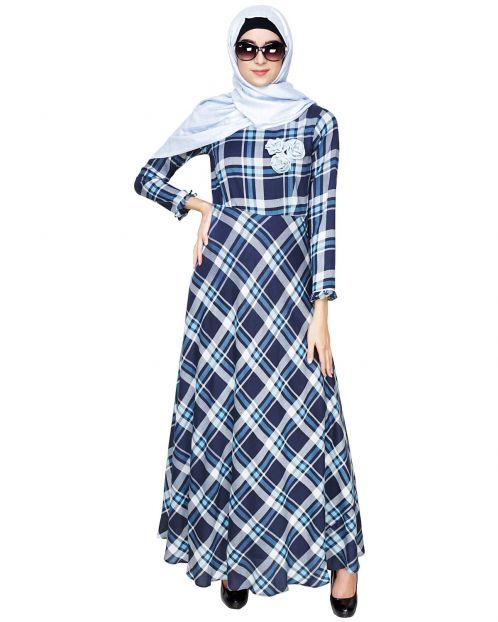 Blue Checkered Maxi Dress