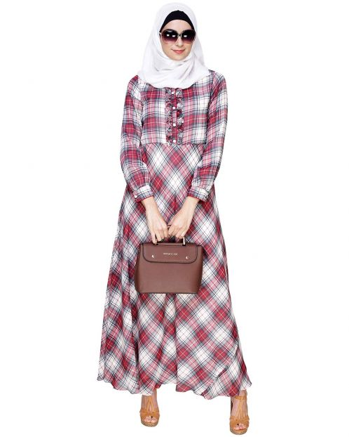 Off White & Red Checkered Maxi Dress