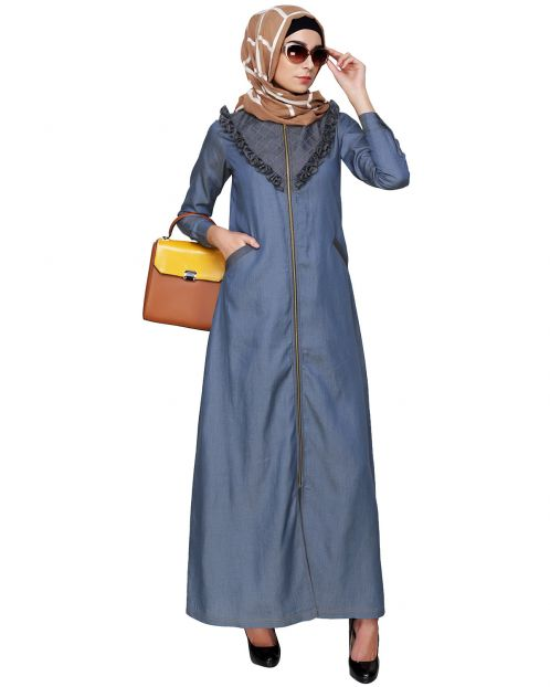 Denim Abaya with Ruffles Yoke