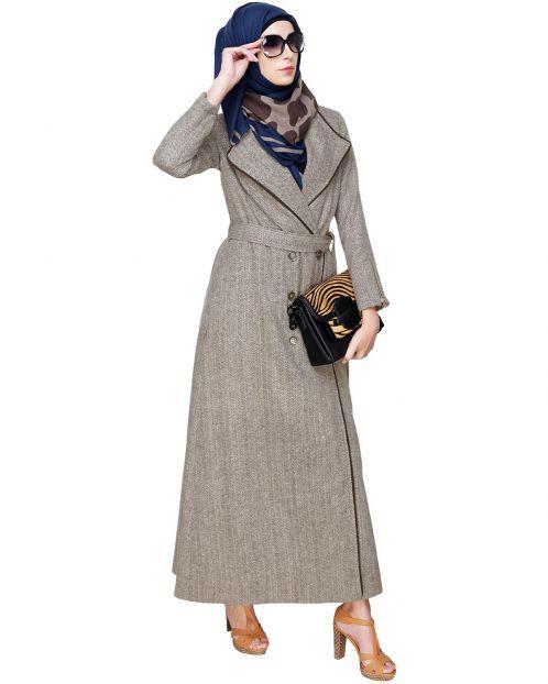 Cream & Brown Jacket Abaya