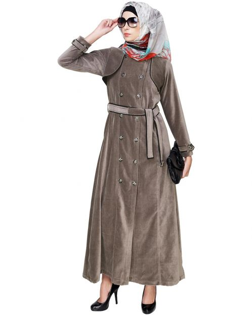 Grey Botton Down Coat Abaya