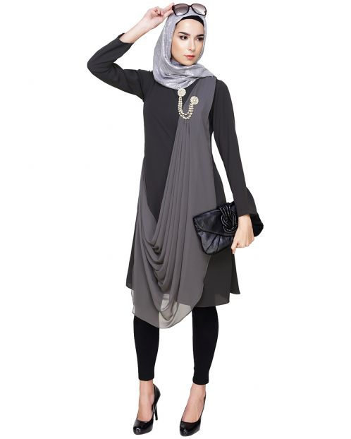 Grey Cross-Over Drape Tunic