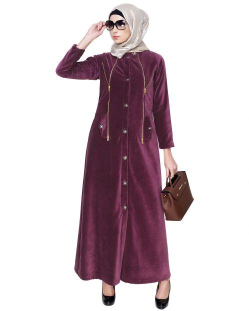 Purple Button Down Coat Abaya