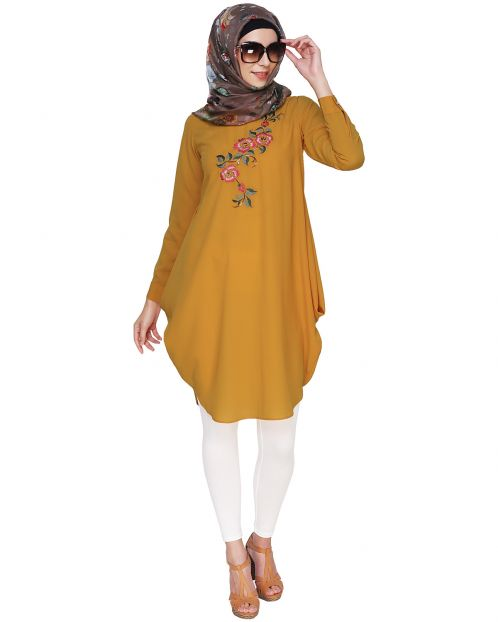 Yellow Side Cowl Tunic