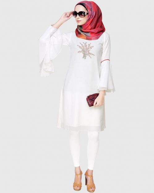 White Floral Embrioder Tunic