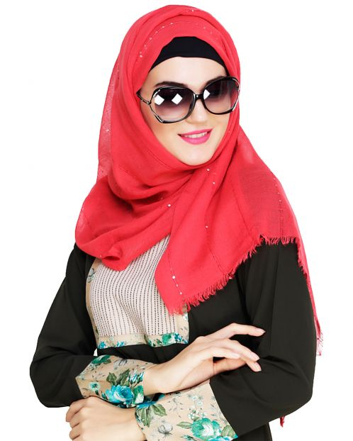 Red Sequince Hijab