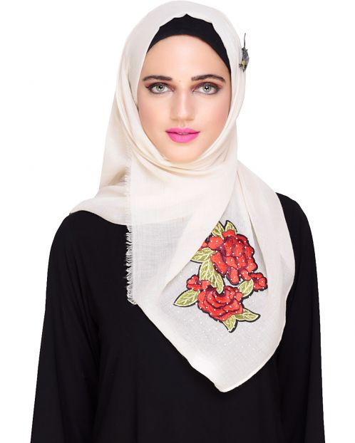Floral Patched Beige Hijab