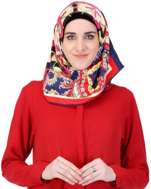 Abstract red & blue floral print Hijab