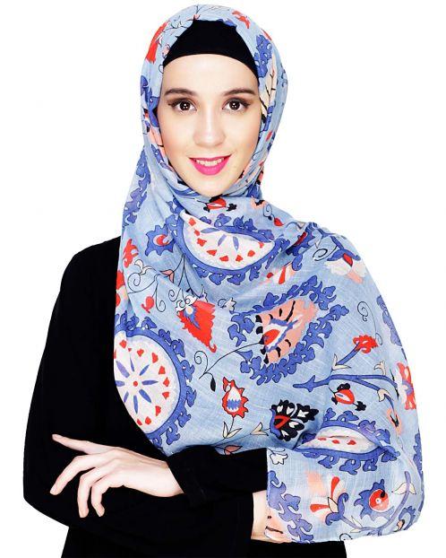 Blue Printed Hijab