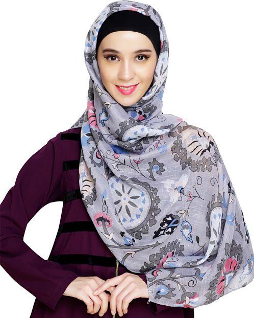 Grey Printed Hijab