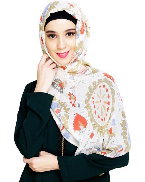 Cream Printed Hijab