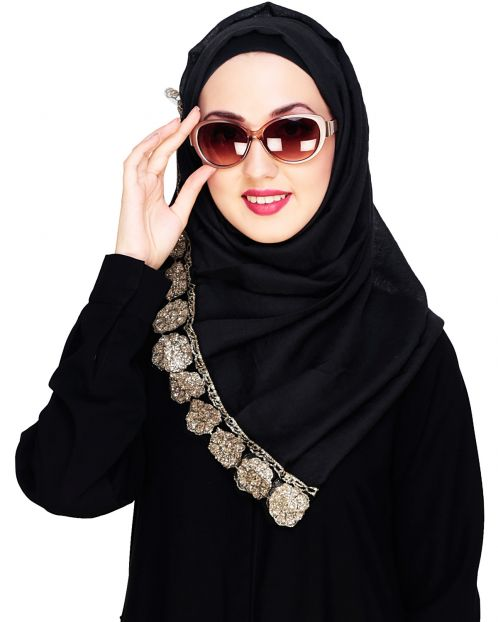 Glittery Black Golden Border Hijab