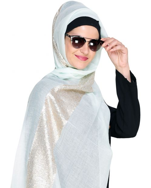 Golden Sequin Laced Mint Hijab