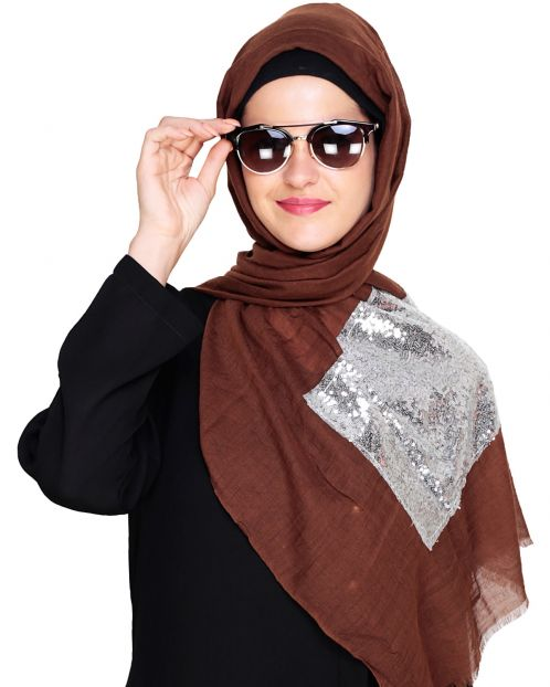 Silver Sequin Laced Brown Hijab