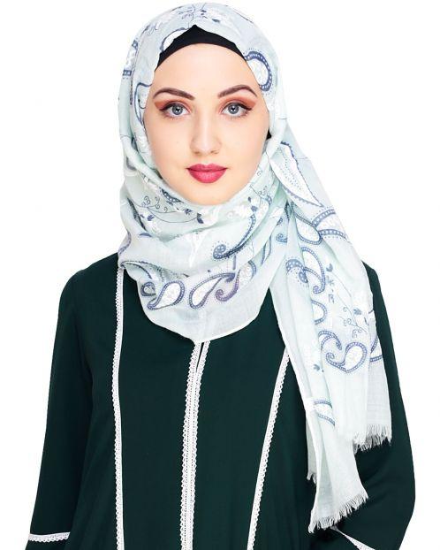 Superior Mint Printed Hijab