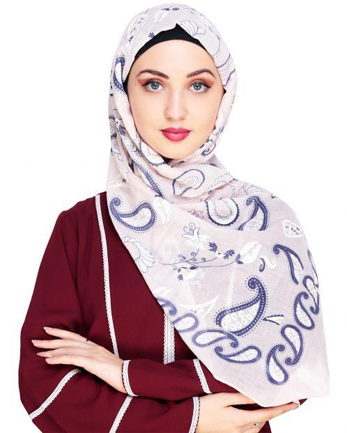 Superior Peach Printed Hijab