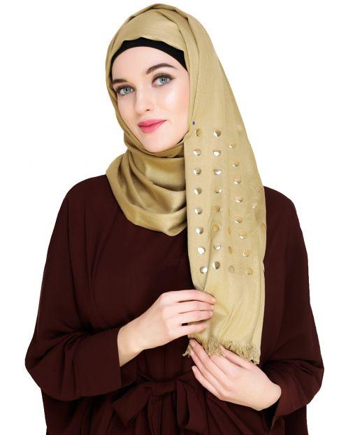 Metallic Border Moss Green Hijab