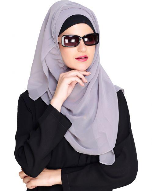 Plain Smokey Grey Instant Hijab