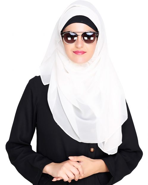 Plain Cream Instant Hijab