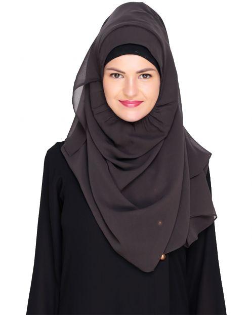 Plain Pebble Grey Instant Hijab