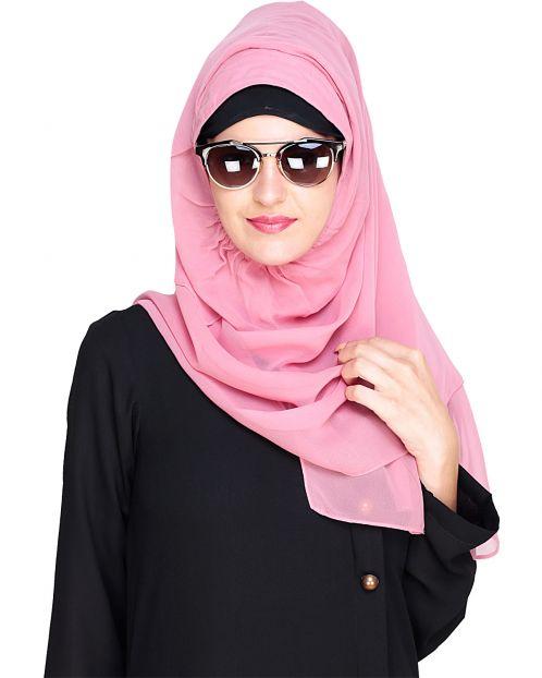 Plain Rose Pink Instant Hijab