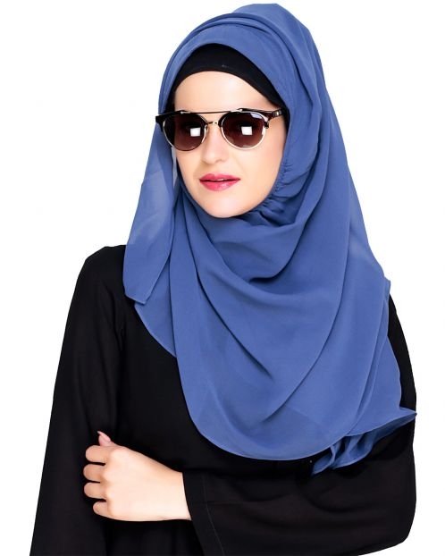 Plain Steal Blue Instant Hijab