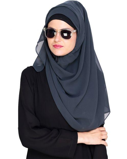 Plain Charcoal Grey Instant Hijab