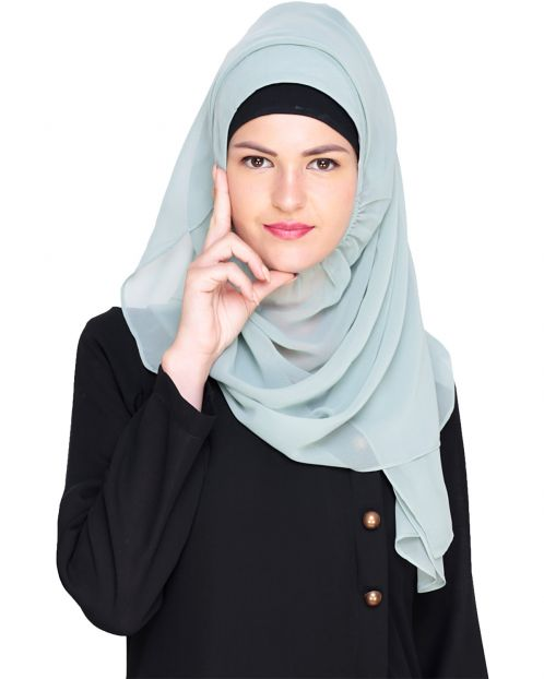 Plain Sage Green Instant Hijab