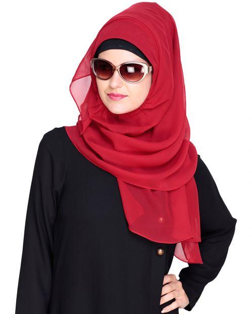 Plain Maroon Instant Hijab