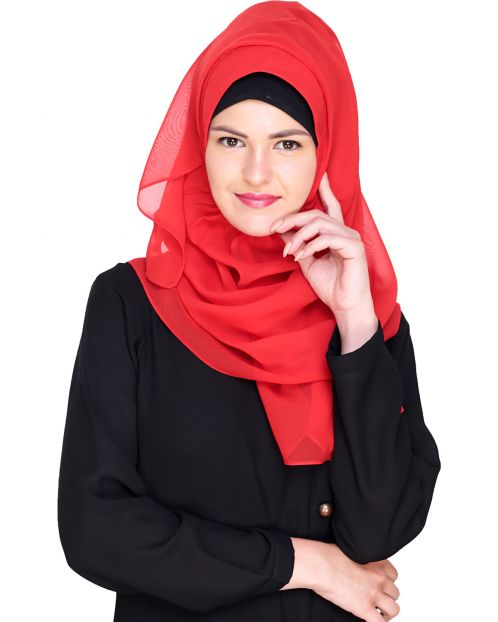Plain Candy Red Instant Hijab