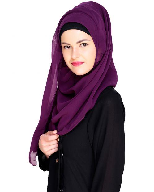 Plain Purple Instant Hijab