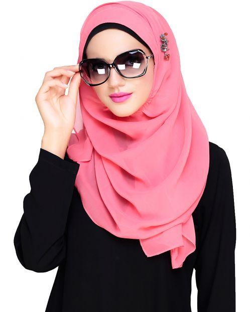 Plain Bubble Pink Instant Hijab