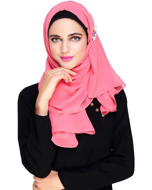 Plain Bubble Pink Gorgette Hijab