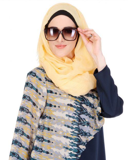 Super-soft Cream Yellow Viscose Hijab