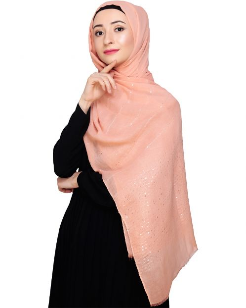 Sequined Peach Hijab