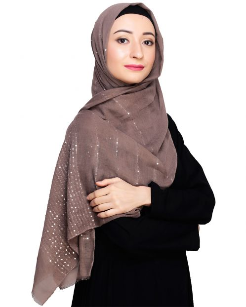 Sequined Brown Hijab