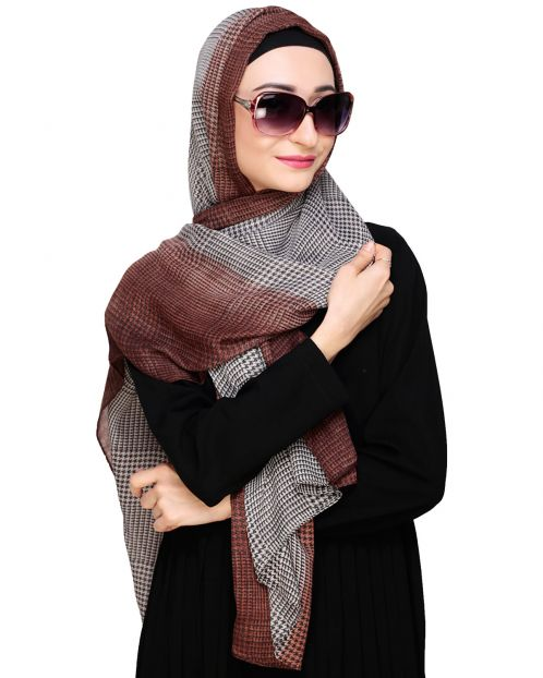 Brown Ombre Checkered Hijab