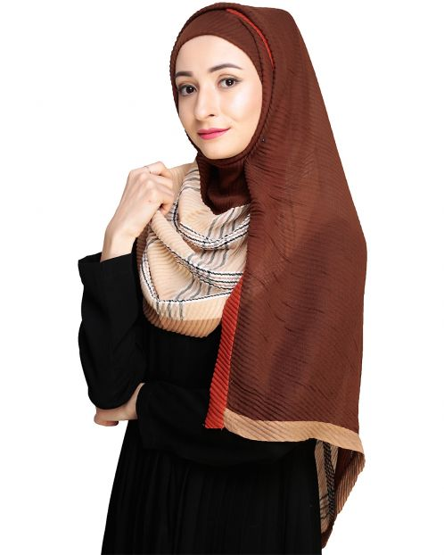Multicolor Beige Checkered Hijab