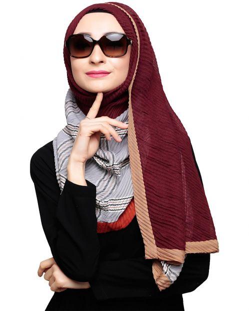 Multicolor Grey Checkered Hijab