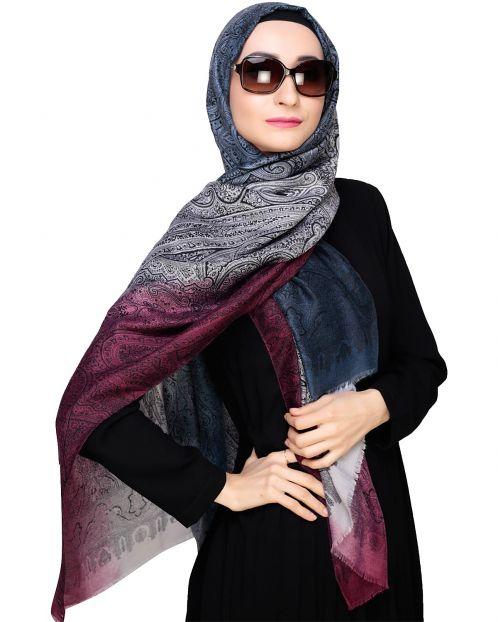 Paisely Print Wine Hijab