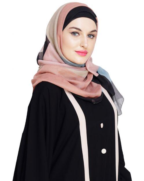 Catchy Abstract Print Ochre Hijab