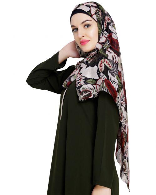 Leaf printed Maroon Hijab