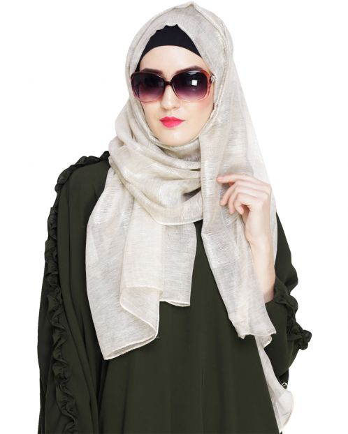Pretty Checkered Cream Hijab