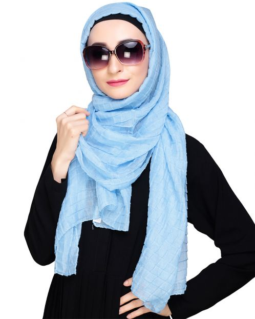 Crinkled Chalk Blue Hijab