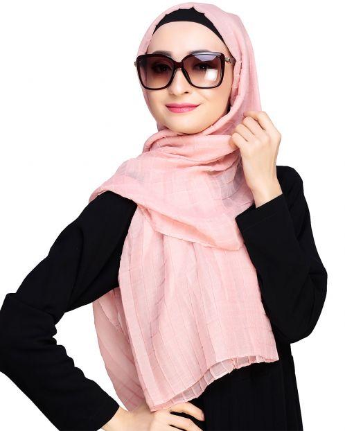 Crinkled Peach Hijab