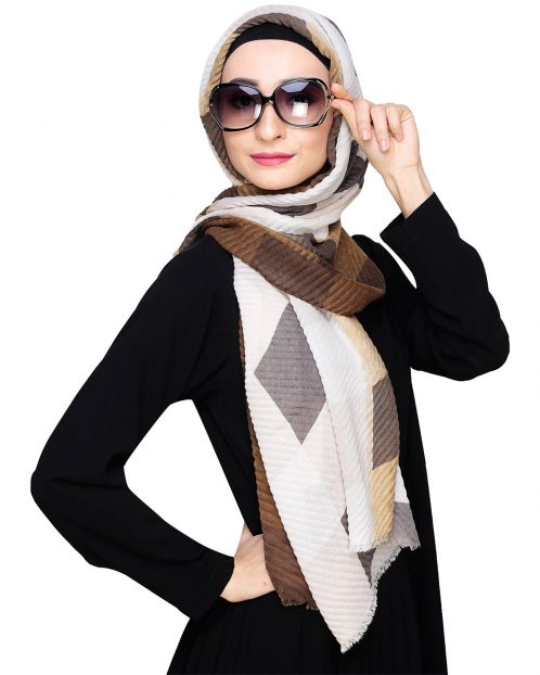 Olive Checkered Crinkled Hijab