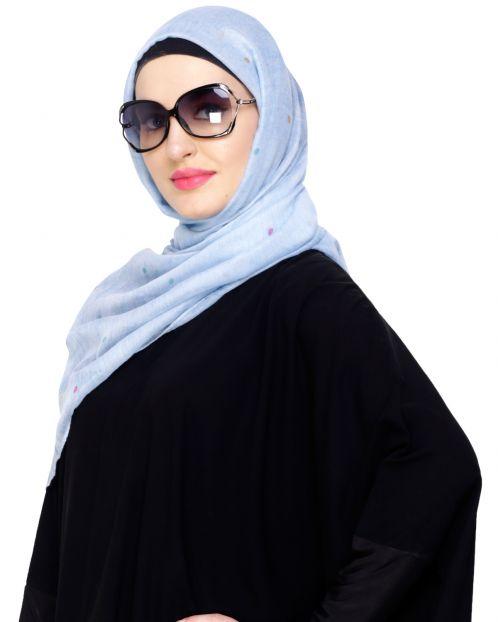Muticolour Polka Dot Blue Hijab