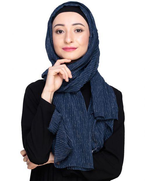 Glamorous Blue Shimmer Hijab