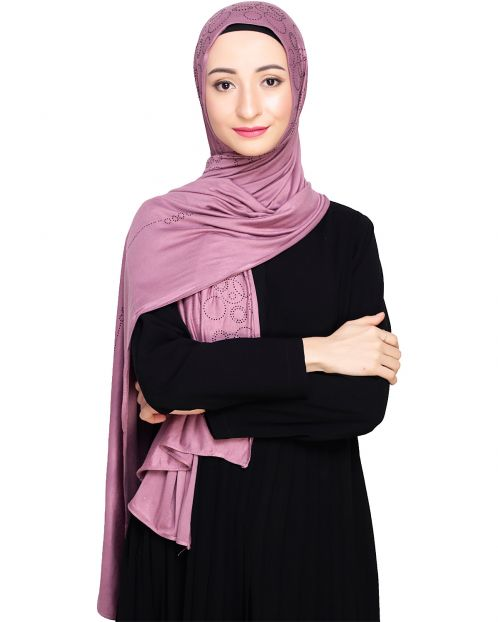 Jersey Stone Work Purple Hijab