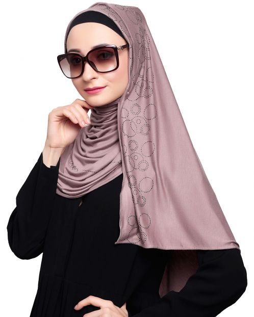 Comfy Stone Work Brown Hijab